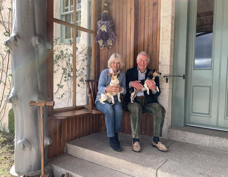 "<p>Following Prince Charles's positive COVID-19 diagnosis, he and Camilla's doctors recommended they isolate separately. This photo was taken at Birkhall shortly after they reunited, and<a href=""https://www.townandcountrymag.com/society/tradition/a32098645/prince-charles-camilla-engagement-photo-anniversary-recreated/"" rel=""nofollow noopener"" target=""_blank"" data-ylk=""slk:recreates their engagement portrait taken more than 15 years ago"" class=""link rapid-noclick-resp""> recreates their engagement portrait taken more than 15 years ago</a>.</p>"