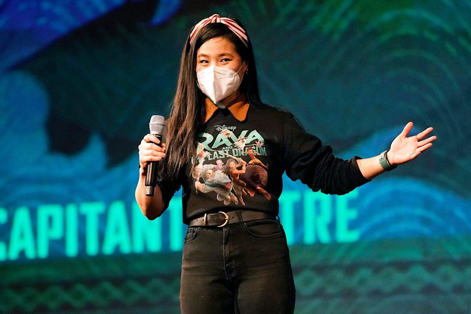 <p>Kelly Marie Tran introduces her Disney animated film, <i>Raya and the Last Dragon</i>, at El Capitan Theatre's opening day on Friday in L.A. </p>