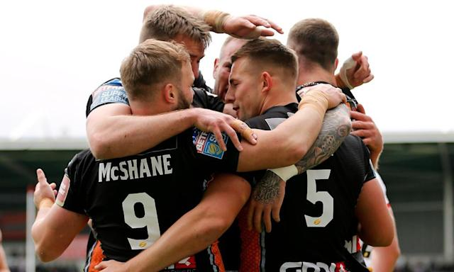"<span class=""element-image__caption"">Castleford Tigers have had a lot more to celebrate recently, and they currently sit on top of the Super League at the regular season's midway point.</span> <span class=""element-image__credit"">Photograph: John Clifton/Reuters</span>"