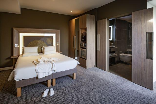 A room in the Novotel London Heathrow Airport T1, T2 and T3 Hotel where passengers entering England from one of 33 'red list' countries will stay