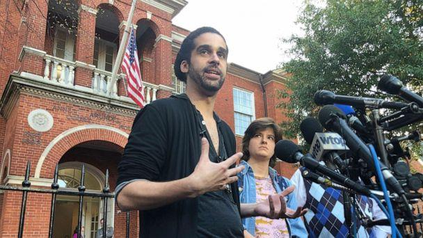 PHOTO: Phil Davis and Rachael Pacella, reporters who survived the 2018 shooting at the Capital Gazette newspaper, speak outside Anne Arundel County Circuit Court in Annapolis, Maryland, Oct. 28, 2019. (Brian Witte/AP)