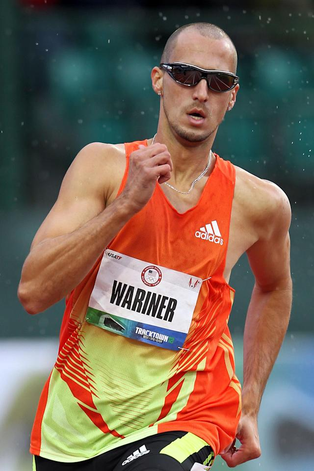 EUGENE, OR - JUNE 22: Jeremy Wariner competes in opening round of the men's 400 meter dash during Day One of the 2012 U.S. Olympic Track & Field Team Trials at Hayward Field on June 22, 2012 in Eugene, Oregon. (Photo by Andy Lyons/Getty Images)