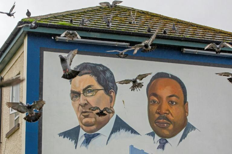Wall of honour: A mural in Londonderry depicting John Hume and other Nobel laureates, including Martin Luther King