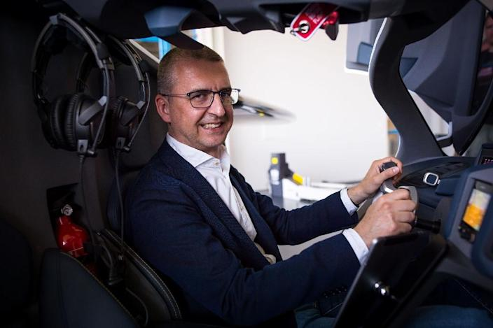 AeroMobil CEO Juraj Vaculik at the wheel of the firm's 'flying car'. (AFP Photo/VLADIMIR SIMICEK)