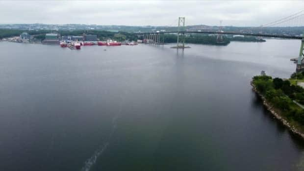 The Bedford Basin is seen in this drone shot taken July 27, 2021. (Steve Lawrence/CBC - image credit)
