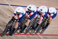 <p>TOPSHOT - Great Britain's team compete during the women's track cycling team pursuit finals during the Tokyo 2020 Olympic Games at Izu Velodrome in Izu, Japan, on August 3, 2021. (Photo by Peter PARKS / AFP) (Photo by PETER PARKS/AFP via Getty Images)</p>