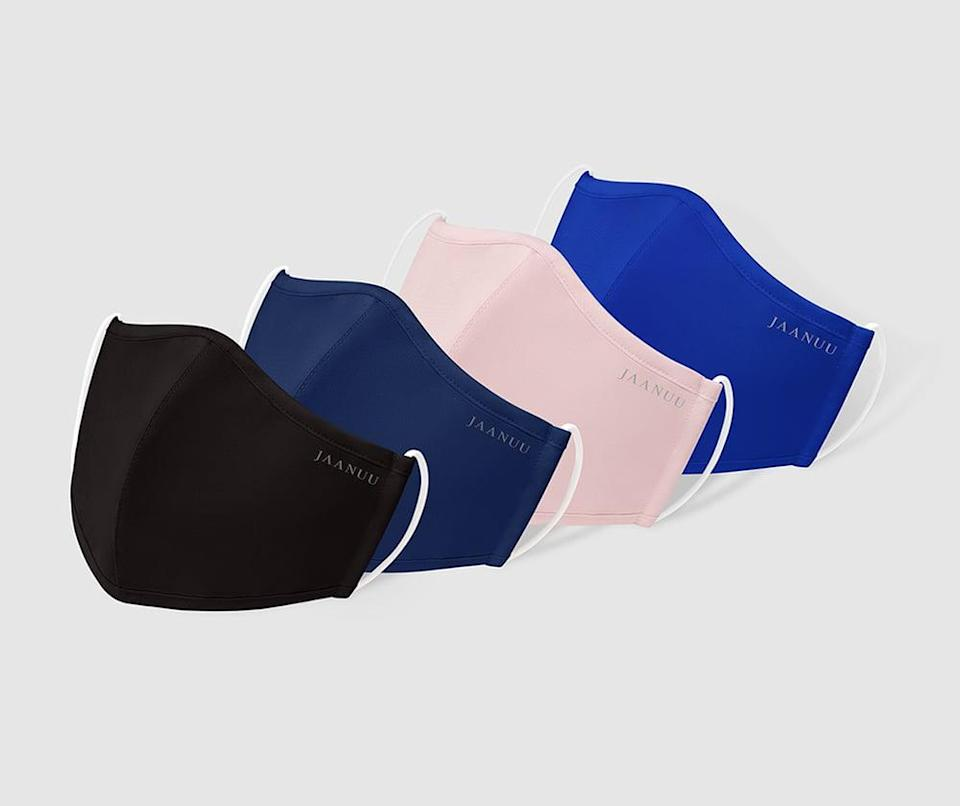 <p>The <span> Jaanuu Reusable Antimicrobial Finished Face Masks</span> ($25 for five) are made from a breathable, moisture-wicking, soft fabric that are used in scrubs. It's treated with an antimicrobial technology called Silvadur that helps reduce the growth of bacteria, mold, and mildew. It comes in a variety of colors.</p>