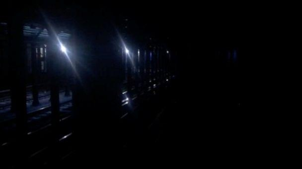 PHOTO: Tracks at the 66th Street station seen during a blackout caused by widespread power outages, in this still frame taken from video, in New York City, July 13, 2019. (Aleksandra Michalska/Reuters)