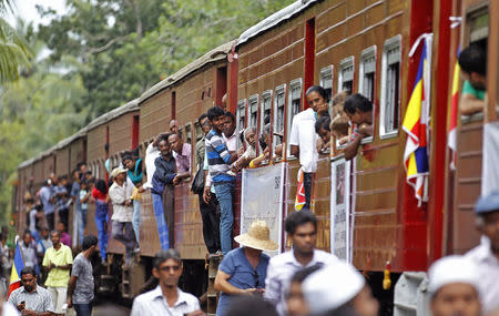 Sri Lankan train Samudra Devi makes special journey to commemorate the 10th anniversary of the Indian Ocean tsunami, at Pereliya