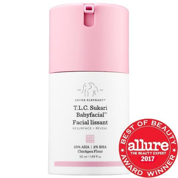 <p>There a two-percent dose of salicylic acid in this <span>Drunk Elephant T.L.C. Sukari Babyfacial AHA + BHA Mask</span> ($28-$80), along with a 25-percent blend of AHAs, all worthing together to exfoliate dead skin cells and unclog pores. With more than 259,000 loves from other Sephora shoppers, it's safe to say this at-home facial treatment is a popular choice for clearing skin.</p>