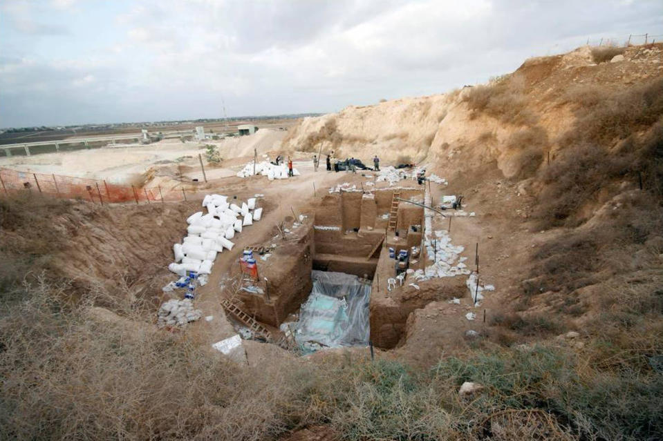 This undated photo provided by Yossi Zaidner in June 2021 shows the Nesher Ramla, Israel human ancestor excavation site. On Thursday, June 24, 2021, scientists reported that bones found in an Israeli quarry are from a branch of the human evolutionary tree and are 120,000 to 140,000 years old. (Yossi Zaidner via AP)