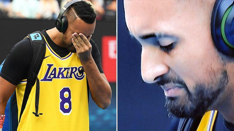 Nick Kyrgios paid an emotional tribute to Kobe Bryant before the match. Pic: Getty/Ch9