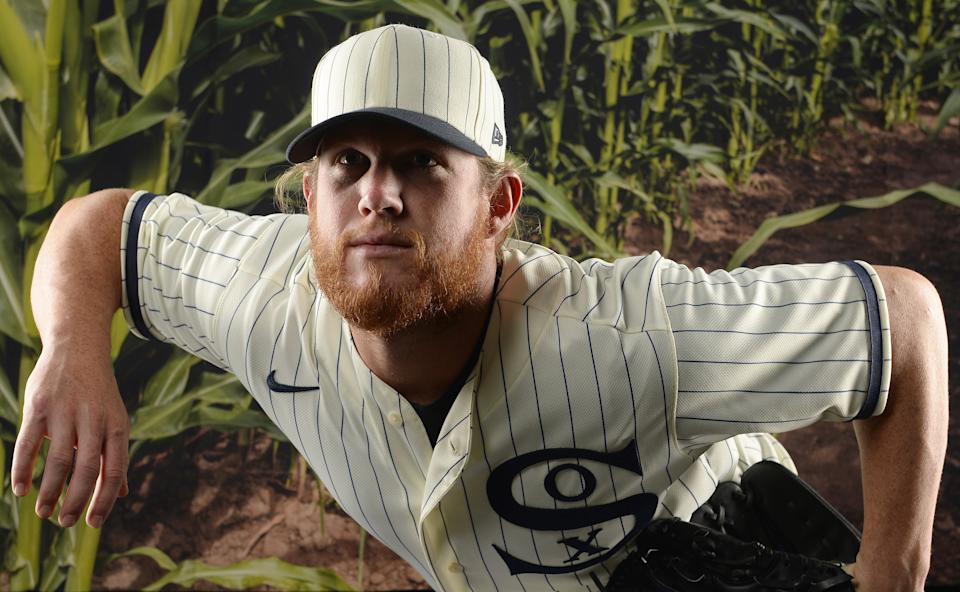 CHICAGO - AUGUST 03:  Craig Kimbrel #46 of the Chicago White Sox poses for a portrait wearing a special throwback vintage uniform in preparation for Major League Baseball