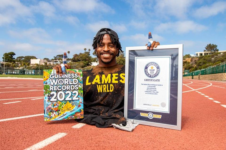 Zion Clark completed 20m walking on his hands in 4.78 seconds (Guinness World Records 2022)
