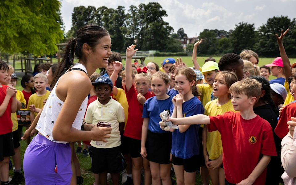 Raducanu visited her former school, Bickley Primary School in Bromley, Kent as a youth ambassador for the LTA - GETTY IMAGES