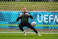 Schmeichel in a training session on Monday