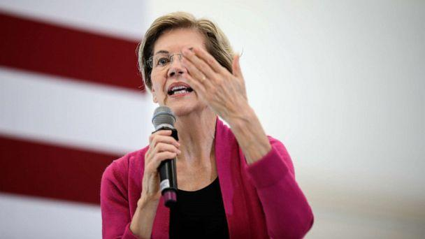 PHOTO: Democratic presidential candidate Sen. Elizabeth Warren, D-Mass., gestures while speaking at a campaign event Wednesday, Oct. 30, 2019, at the University of New Hampshire in Durham, N.H. (Cheryl Senter/AP)