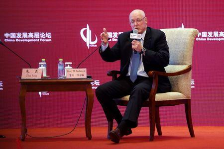 Henry M. Paulson, former U.S Secretary of Treasury, speaks during a parallel session at China Development Forum in Beijing