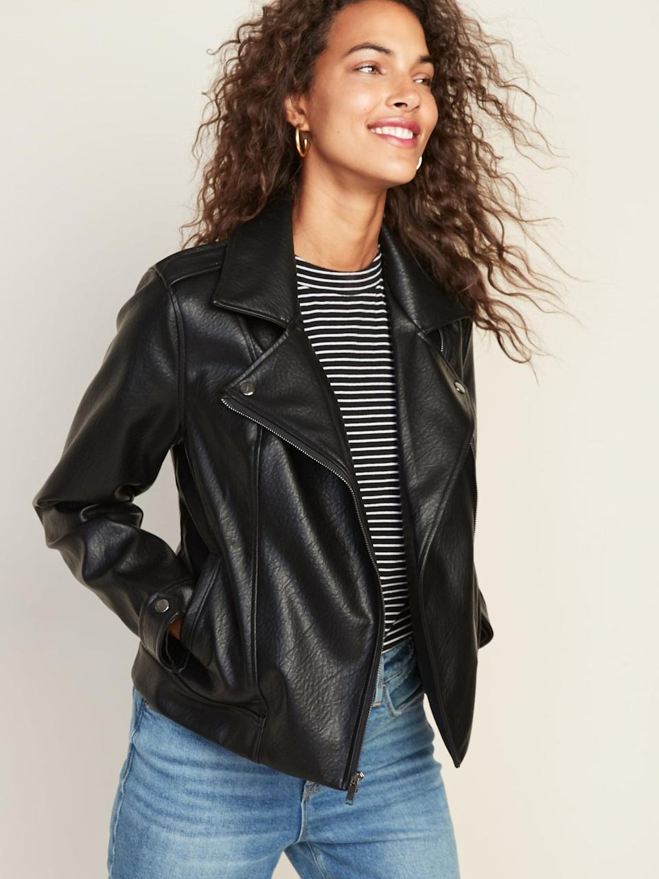 <p>Customers rave about this <span>Old Navy Faux-Leather Moto Jacket</span> ($48, originally $60).</p>