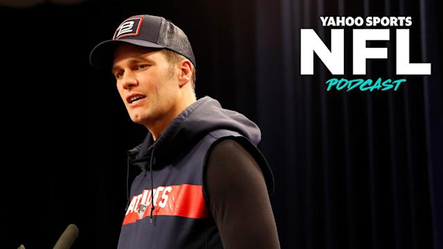Former Patriots QB Tom Brady addresses the press in New England. ((Photo by Fred Kfoury III/Icon Sportswire via Getty Images)