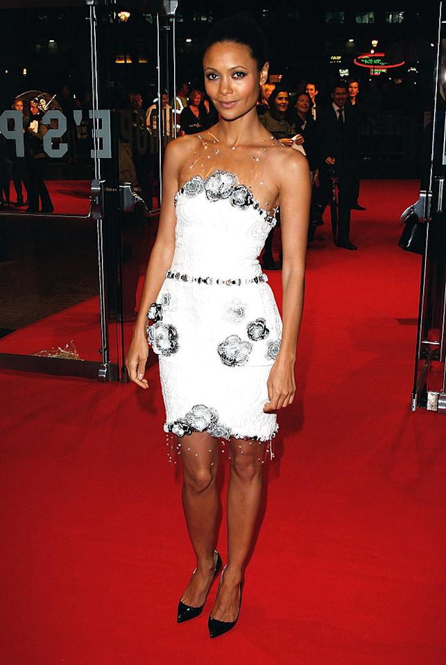 "The silver and black flower-adorned Chanel dress and matching black heels worn by Thandie Newton to the London screening of ""W."" were beyond beautiful. Jon Furniss/<a href=""http://www.wireimage.com"" target=""new"">WireImage.com</a> - October 23, 2008"