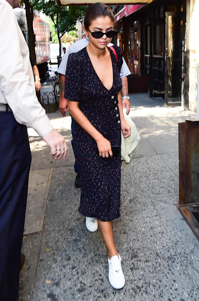 Selena Gomez in SoHo on Sept. 5 in New York City. (Photo by Raymond Hall/GC Images)
