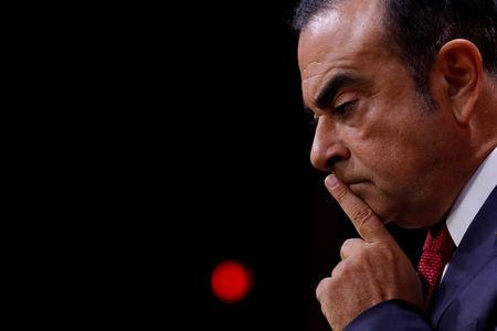 FILE PHOTO: Carlos Ghosn, Chairman and CEO of the Renault-Nissan Alliance, reacts during a news conference in Paris, France, September 15, 2017. REUTERS/Philippe Wojazer/File Photo