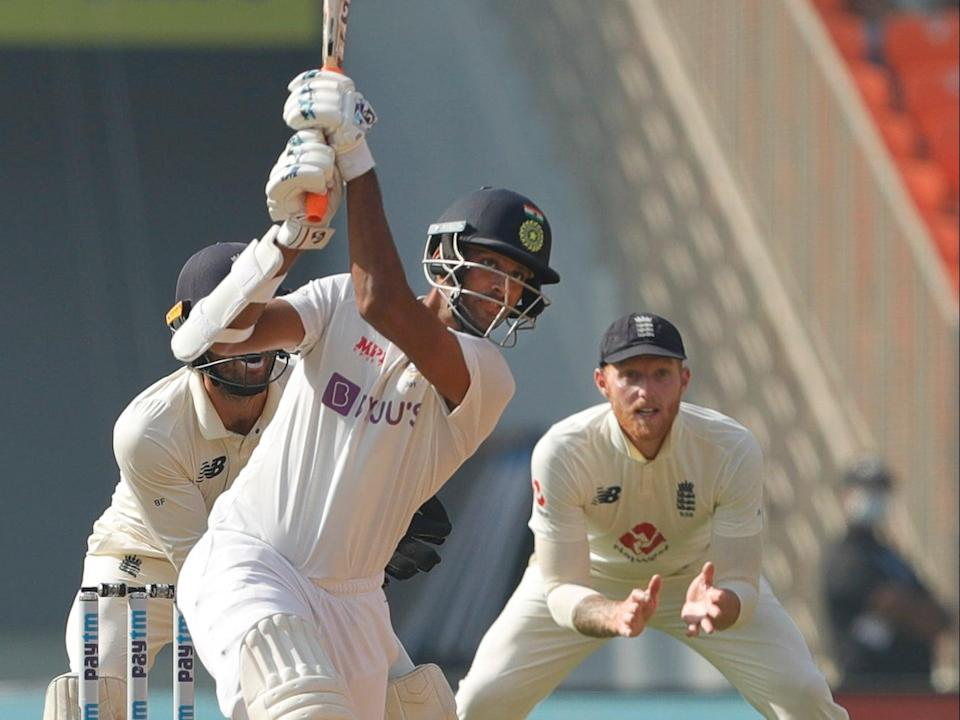 Washington Sundar of India scoring a boundary on day three of the fourth Test against England (BCCI)