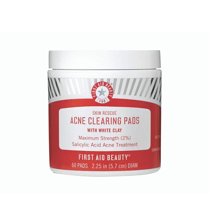 """<h3>First Aid Beauty Skin Rescue Acne Clearing Pads</h3><br><strong>Noelle</strong><br><br>""""Works perfectly, and one tub lasts a long time. It helps my acne but isn't too harsh on my skin — no weird smell, and easy to use.""""<br><br><strong>First Aid Beauty</strong> Skin Rescue Acne Clearing Pads, $, available at <a href=""""https://amzn.to/2N6Lc1t"""" rel=""""nofollow noopener"""" target=""""_blank"""" data-ylk=""""slk:Amazon"""" class=""""link rapid-noclick-resp"""">Amazon</a>"""