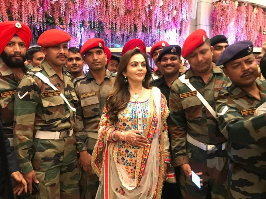 "Speaking at the occasion, Smt. Nita Ambani said, ""We feel delighted and honoured that the protectors of this city and the nation are joining us in our celebrations. It's an emotional and joyous occasion for us and we hope these heroes, who make us proud every day, will shower their blessings on Akash and Shloka."" (Image: News18)"