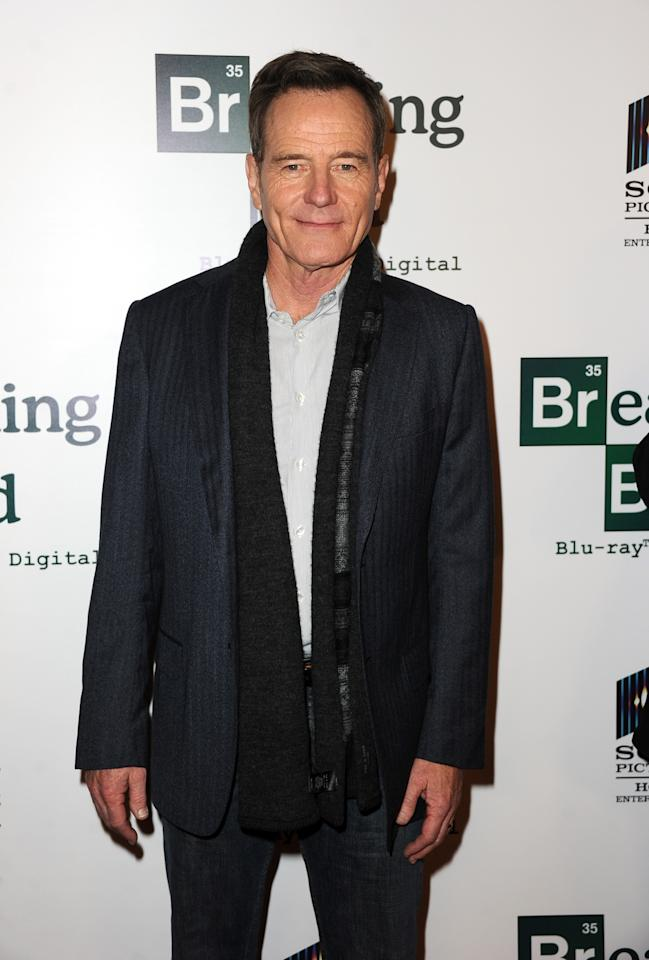 "LOS ANGELES, CA - NOVEMBER 25: Actor Bryan Cranston arrives at the screening of ""No Half Measures: Creating The Final Season Of Breaking Bad"" DVD Launch at Pacific Theatres at the Grove on November 25, 2013 in Los Angeles, California. (Photo by Kevin Winter/Getty Images)"