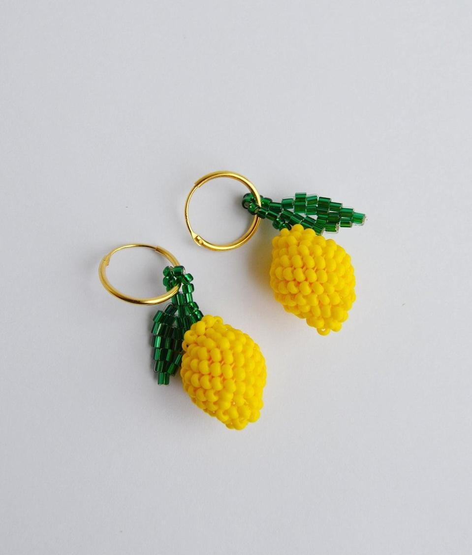 """<br> <br> <strong>KeychainbyMirami8888</strong> Lemon Beaded Earrings, $, available at <a href=""""https://go.skimresources.com/?id=30283X879131&url=https%3A%2F%2Fwww.etsy.com%2Flisting%2F816344896%2Ffruit-earrings-small-lemon-beaded"""" rel=""""nofollow noopener"""" target=""""_blank"""" data-ylk=""""slk:Etsy"""" class=""""link rapid-noclick-resp"""">Etsy</a>"""