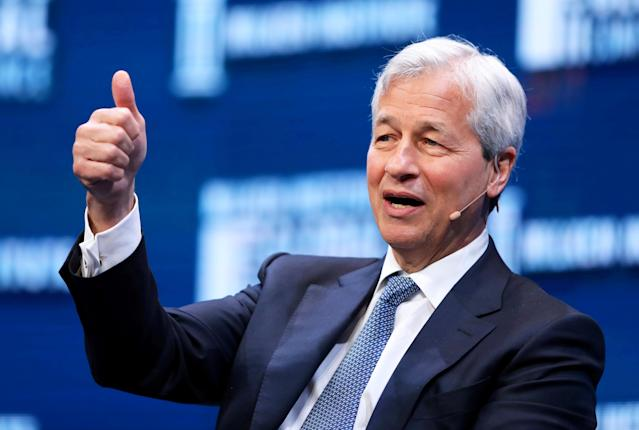 Jamie Dimon, Chairman and CEO of JPMorgan Chase & Co. speaks during the Milken Institute Global Conference in Beverly Hills, California, U.S., May 1, 2017. JPMorgan earnings on Friday will be a highlight for investors as fourth quarter earnings season gets underway. REUTERS/Mike Blake