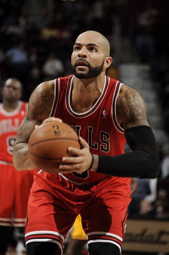 CLEVELAND, OH - NOVEMBER 2: Carlos Boozer #5 of the Chicago Bulls shoots a freethrow against the Cleveland Cavaliers at The Quicken Loans Arena on November 2, 2012 in Cleveland, Ohio. (Photo by David Liam Kyle/NBAE via Getty Images)