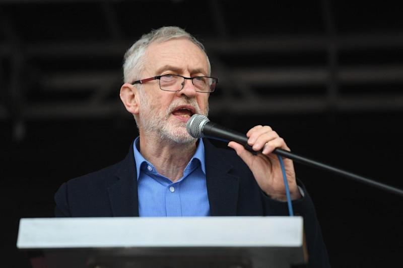 Labour leader Jeremy Corbyn speaking at a rally in central London (PA)