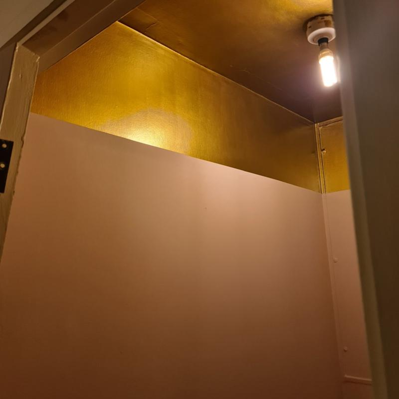 The pink and gold bathroom.