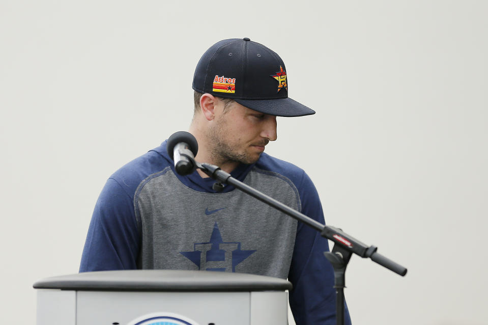 WEST PALM BEACH, FLORIDA - FEBRUARY 13:  Alex Bregman #2 of the Houston Astros reacts during a press conference at FITTEAM Ballpark of The Palm Beaches on February 13, 2020 in West Palm Beach, Florida. (Photo by Michael Reaves/Getty Images)