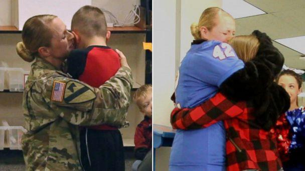 PHOTO: Sgt. Lacey Poltoratskiy hugged her children tight after surprising each of them. (Midway ISD)