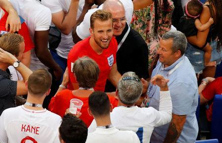 FILE PHOTO: Soccer Football - World Cup - Quarter Final - Sweden vs England - Samara Arena, Samara, Russia - July 7, 2018 England's Harry Kane celebrates victory with his family in the stand after the match REUTERS/David Gray