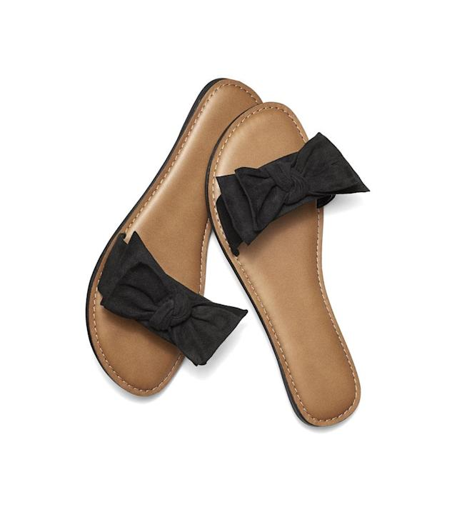 "<p>Women's Bow Slide Sandal, $7, <a href=""https://www.walmart.com/ip/Time-and-Tru-Women-s-Bow-Slide-Sandal/308772674"" rel=""nofollow noopener"" target=""_blank"" data-ylk=""slk:walmart.com"" class=""link rapid-noclick-resp"">walmart.com</a>. (Photo: Courtesy of Walmart) </p>"