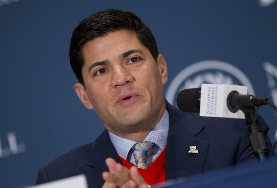 College Football Hall of Fame inductee Tedy Bruschi, a defensive back from Arizona, speaks during the 56th National Football Foundation Annual Awards ceremonies on Tuesday, Dec. 10, 2013 in New York. (AP Photo/Jin Lee)