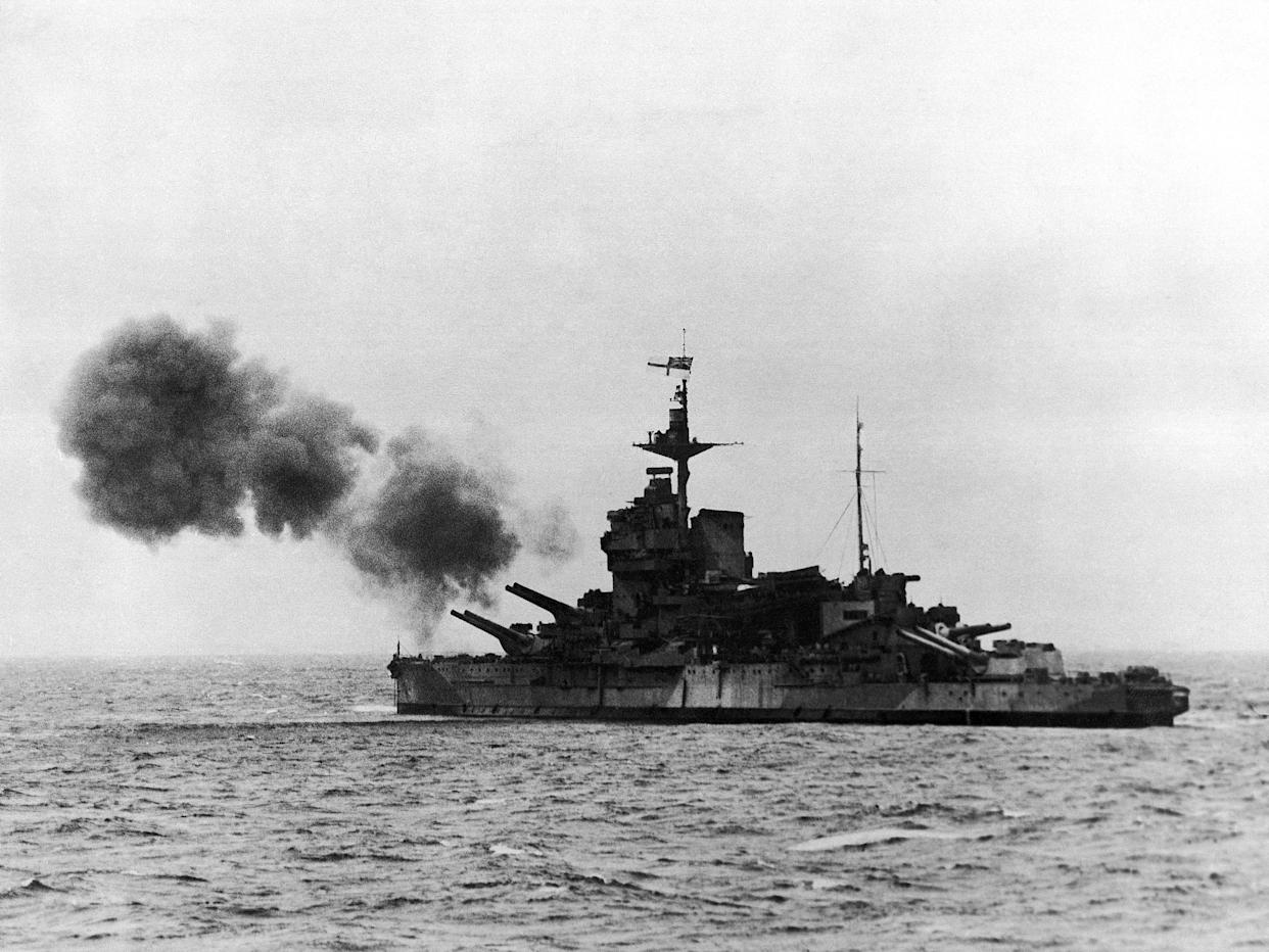 H.M.S. Warspite is shown shelling German invasion coast positions.