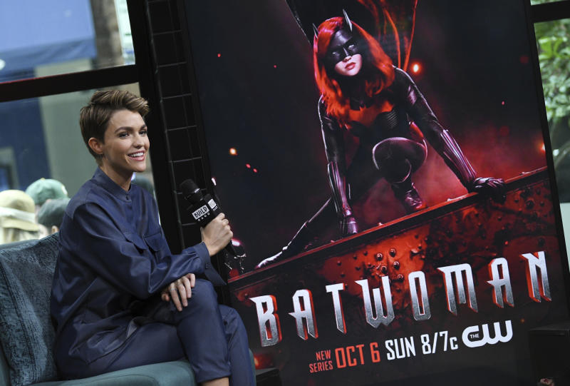 "Actress Ruby Rose participates in the BUILD Speaker Series to discuss the CW television series ""Batwoman"" at BUILD Studio on Monday, Sept. 30, 2019, in New York. (Photo by Evan Agostini/Invision/AP)"