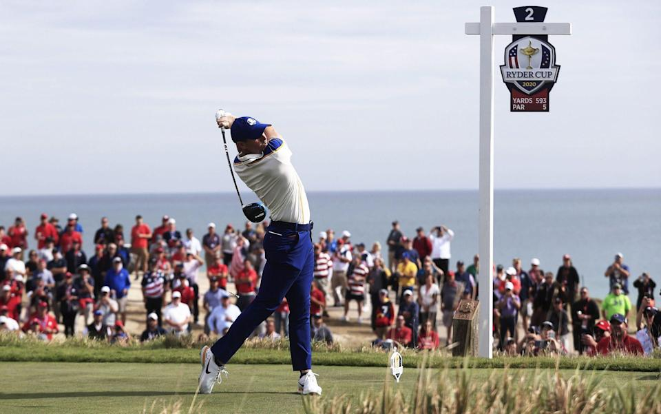 McIlroy drives on the second. - TANNEN MAURY/EPA-EFE/Shutterstock