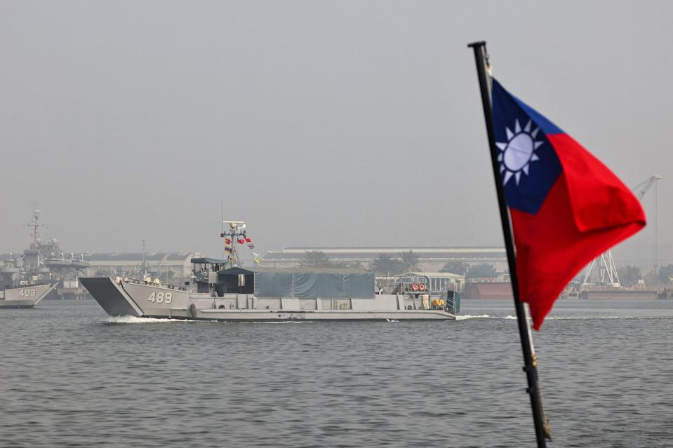 <p>A Taiwan flag is seen during a navy drill ahead of the Lunar New Year</p> (Reuters)