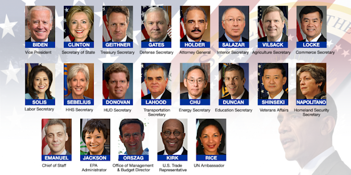 Barack Obama's Cabinet in 2009. (Photos: AP/Getty/Reuters)