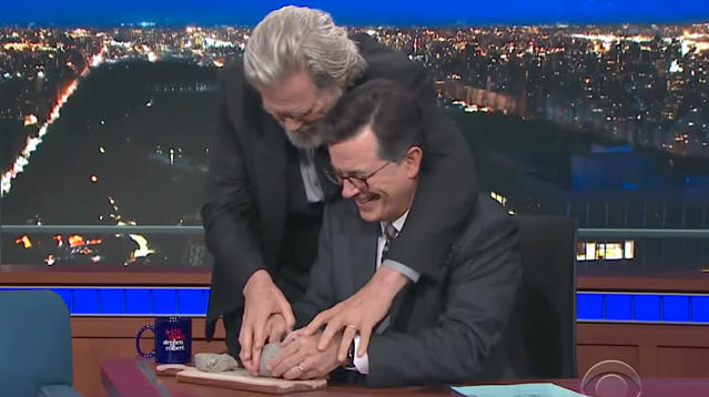 Jeff Bridges Channels 'Ghost' To Help Stephen Colbert Stay Chill In The Trump Era