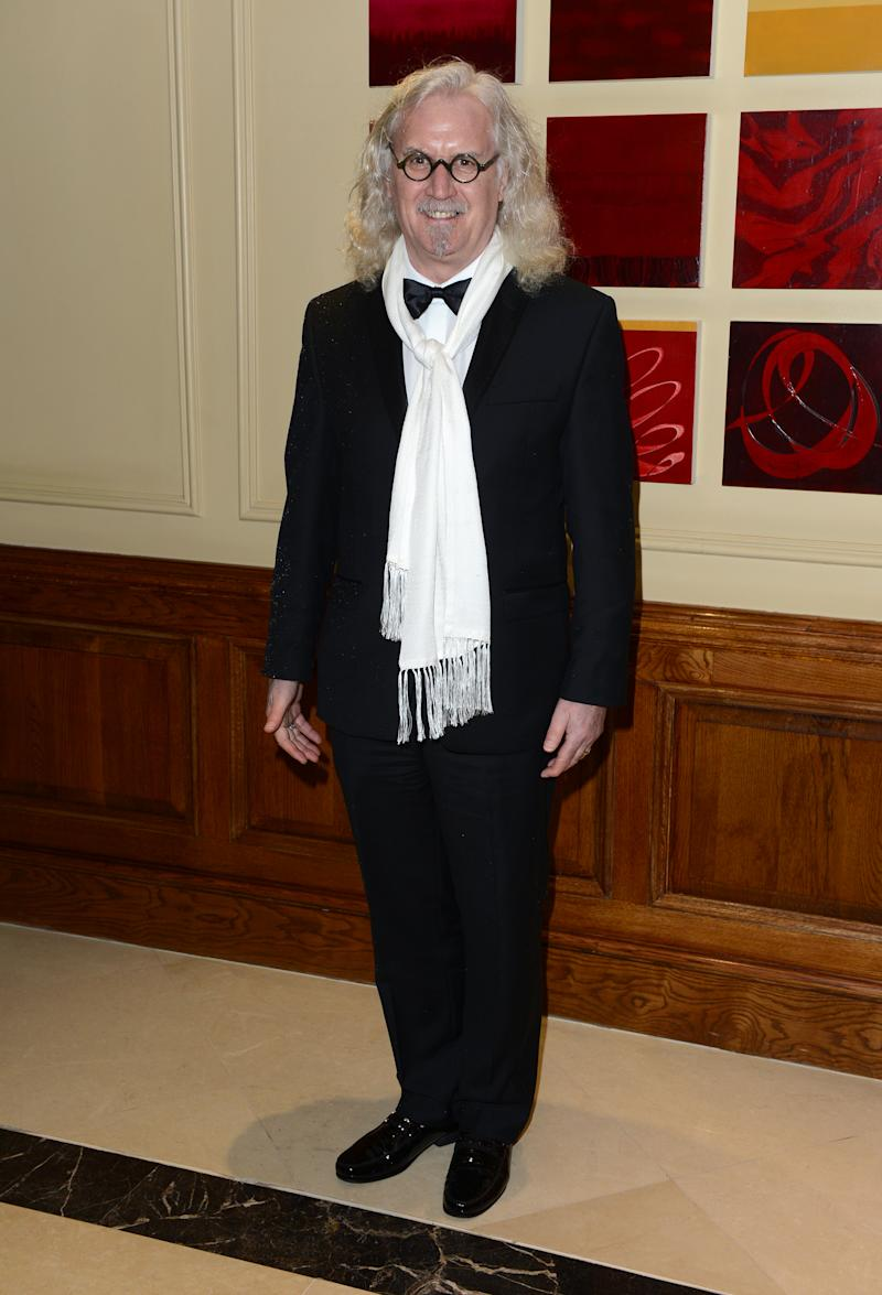 Billy Connolly seen arriving for the BAFTA Film Awards After Party at the Grosvenor House Hotel on Sunday, Feb. 10, 2013, in London. (Photo by Jon Furniss/Invision/AP)