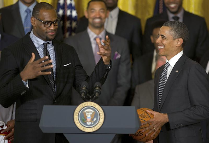 LeBron James is grateful his friend Barack Obama was able to jump on a midnight call with him and several NBA players to help them navigate the NBA walkout. (Photo credit should read JIM WATSON/AFP via Getty Images)