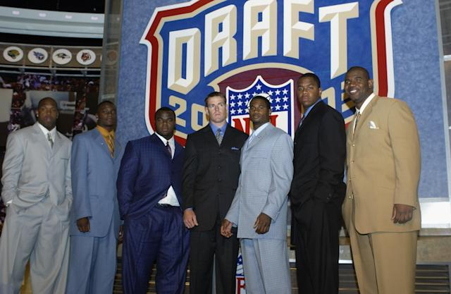 The 2003 NFL draft class, from left: Terrell Suggs, Charles Rogers, Dewayne Robertson, Carson Palmer, Terence Newman, Byron Leftwich, and Jimmy Kennedy at Madison Square Garden in New York City. (Photo by Ezra Shaw/Getty Images)
